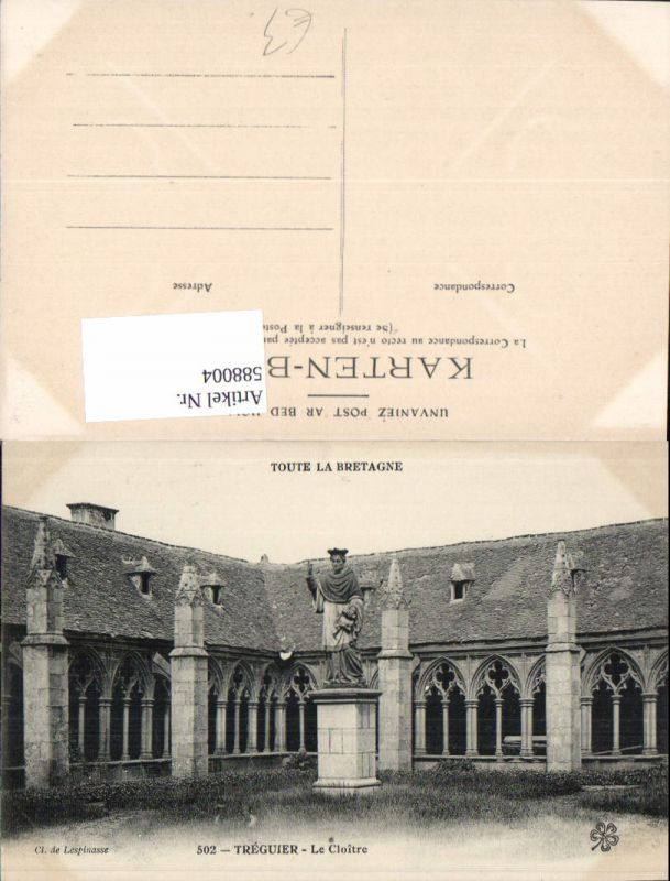 588004,Treguier Le Cloitre Statue Kloster France