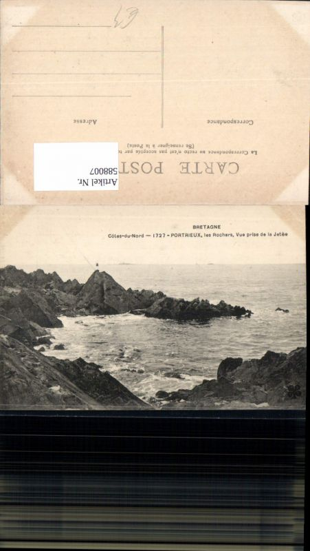 588007,Bretagne Cotes du Nord Portrieux Les Rochers Vue prise de la Jetee Küste France