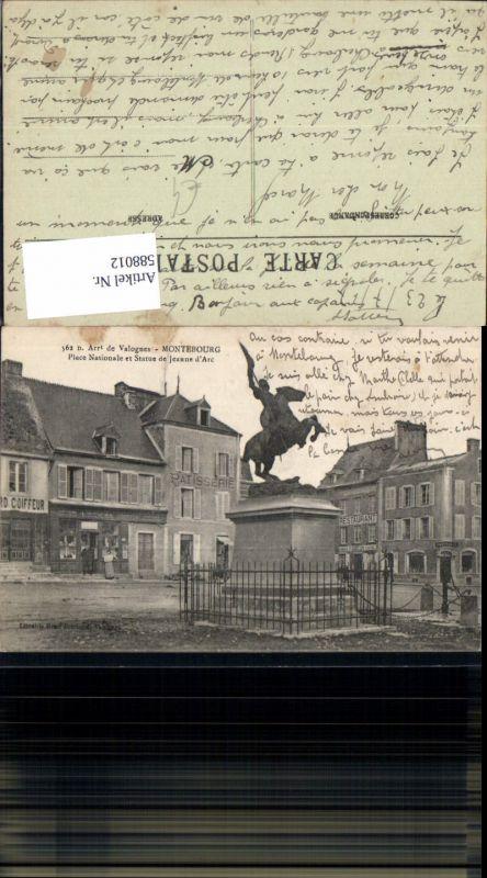 588012,Arrt de Valognes Montebourg Place Nationale et Statue de Jeanne d Arc Reiterdenkmal France