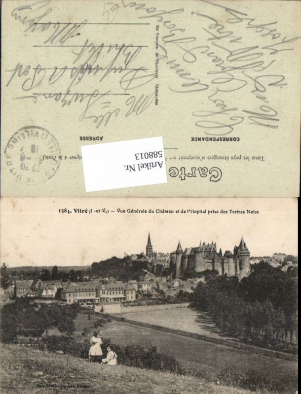 588013,Vitre Vue Generale du Chateau et de l Hopital prise des Tertres Noirs France