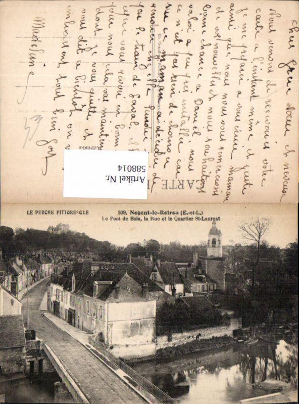 588014,Nogent-le-Rotrou Le Pont de Bois la Rue et le Quartier St Laurent France