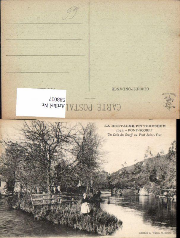 588017,La Bretagne Pittoresque Pont Scorff Un Coin du Scorff au Pont Saint-Yves France