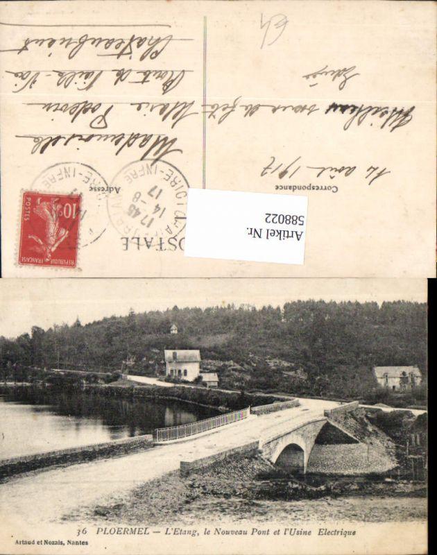 588022,Ploermel L Etang le Nouveau Pont et l Usine Electrique Brücke France