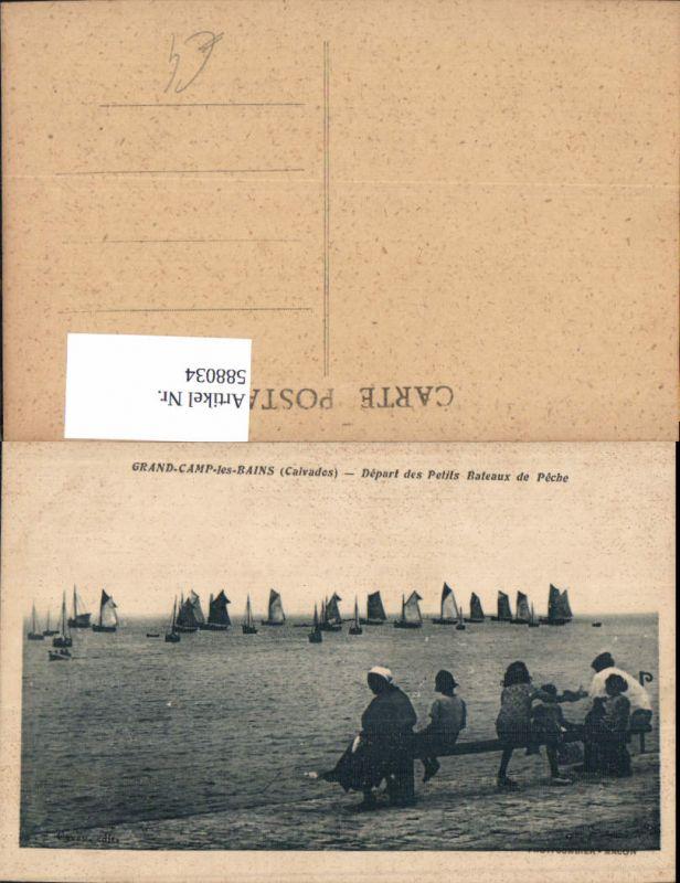 588034,Grandcamp-Maisy Grand-Camp-les-Bains Calvados Depart des Petits Bateaux de Peche Segelboote France