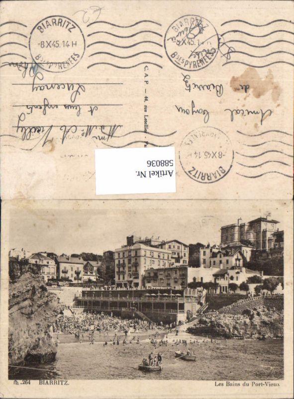 588036,Biarritz Les Bains du Port-Vieux Strand Strandleben France