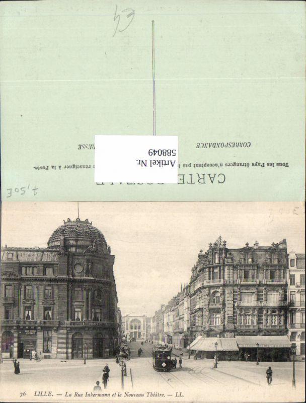 588049,Lille La Rue Inkermann et le Nouveau Theatre Theater Straßenbahn France