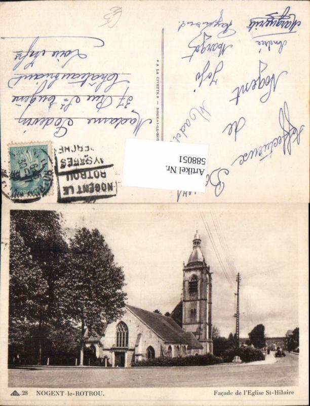 588051,Nogent-le-Rotrou Facade de l Eglise St Hilaire Kirche France