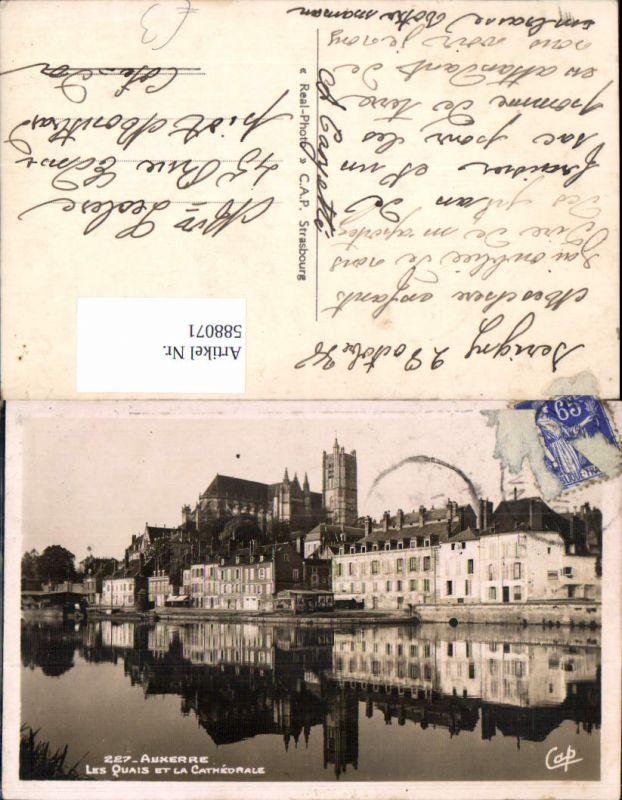 588071,Auxerre Les Quais et la Cathedrale Kathedrale France