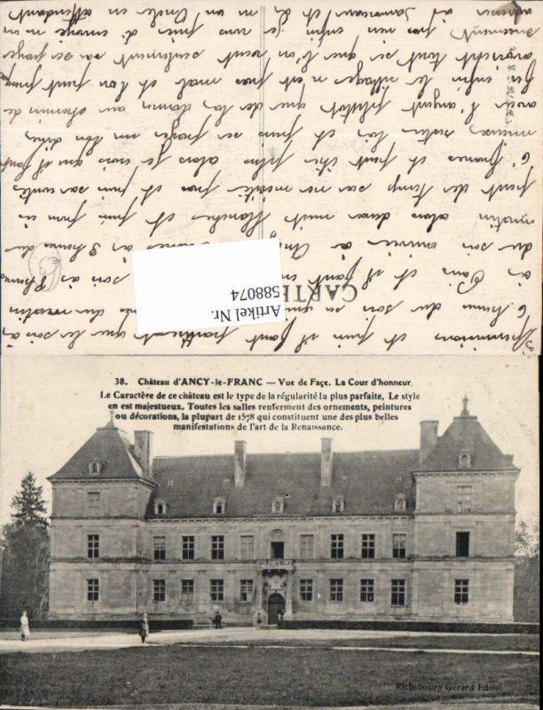 588074,Chateau d Ancy-le-Franc Vue de Face La Cour d honneur Schloss France