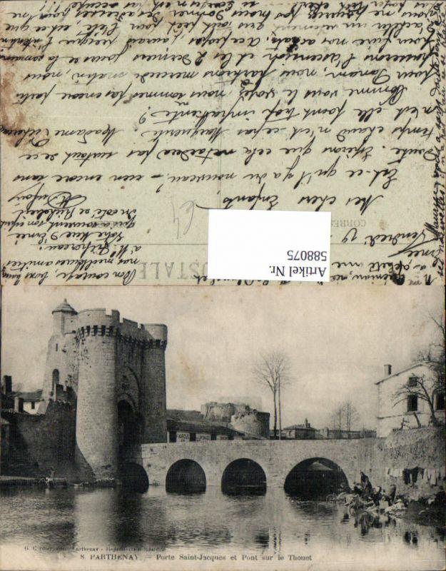 588075,Parthenay Porte Saint-Jacques et Pont sur le Thouet Brücke France
