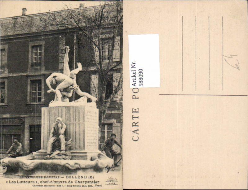 588090,Le Vaucluse Illustre Bollene Les Lutteurs chef d ceuvre de Charpentier Statue France