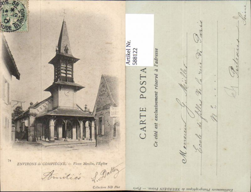 588122,Environs de Compiegne Vieux Moulin l Eglise Kirche France