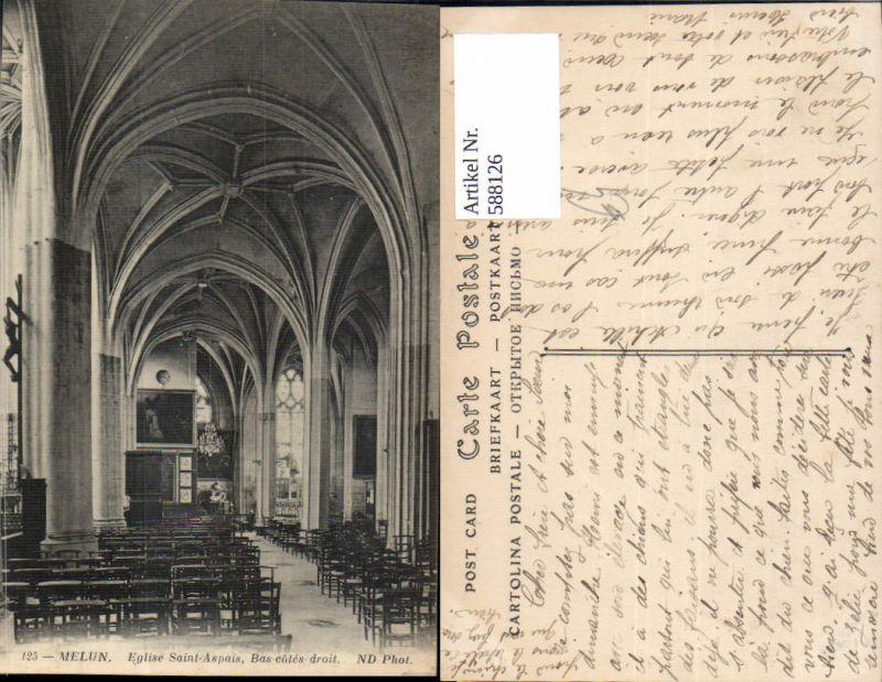 588126,Melun Eglise Saint-Aspais Bas-cotes droit Kirche Innen France