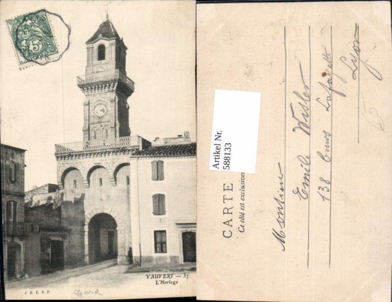 588133,Vauvert L Horloge Uhr Uhrturm France