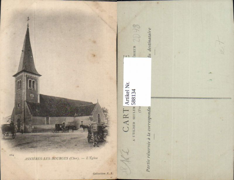 588134,Asnieres-les-Bourges Cher L Eglise Kirche Kutsche France