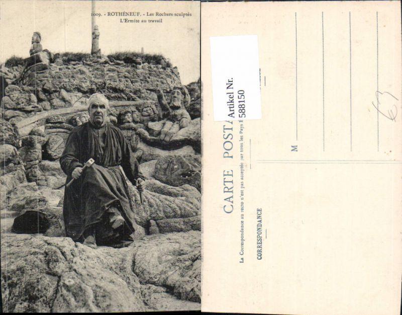 588150,Rotheneuf Les Rochers sculptes L Ermite au travail France