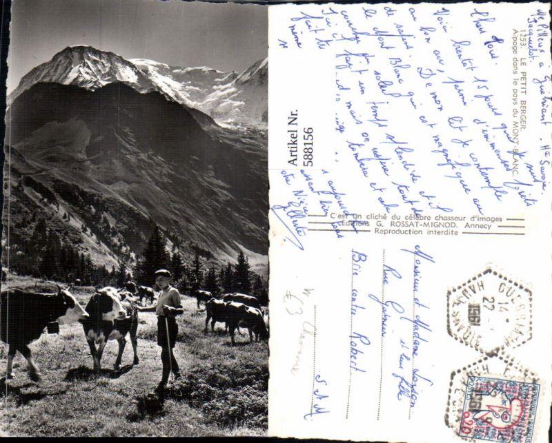 588156,Foto Ak Le Petit Berger Alpage dans le pays du Mont Blanc Chamonix Rinder Kühe Hirte France