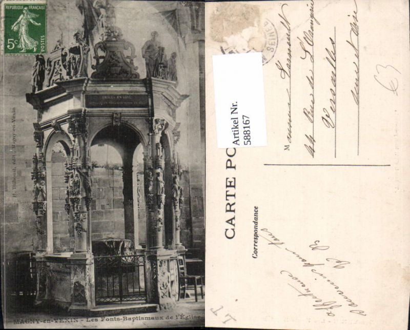 588167,Magny-en-Vexin Les Fonts-Baptismaux de l Eglise Kirche  France