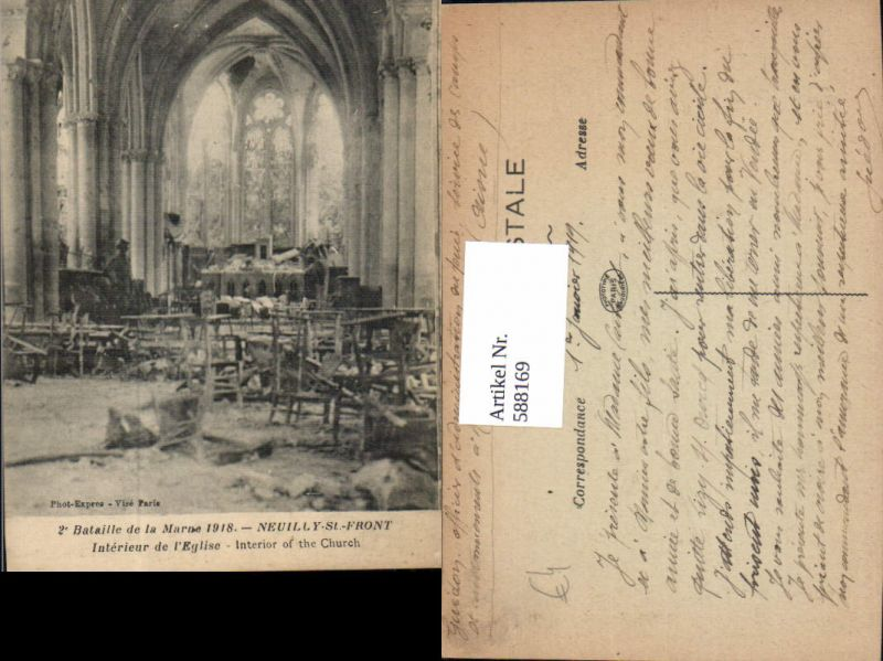 588169,Neuilly-St-Front Interieur de l Eglise Bataille de la Marne 1918 WW1 Zerstörte Kirche France