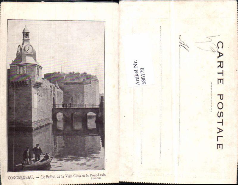 588178,Concarneau Le Beffroi de la Ville Close et le Pont-Levis Brücke Boot France