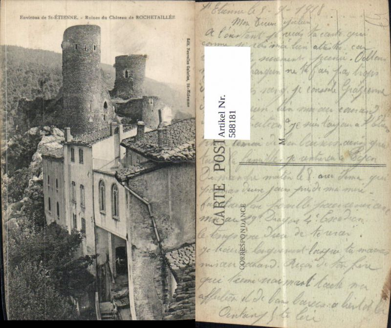 588181,Environs de Ste Etienne Ruines du Chateau de Rochetaillee Ruine Schloss France