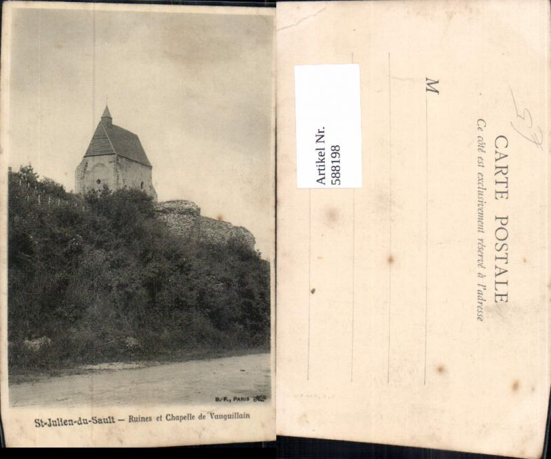 588198,St-Julien-du-Sault Ruines et Chapelle de Vauguillain Kirche France