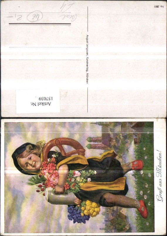 157039,München Künstler Ak Mädchen m. Bierkrug Brezel Blumen 0