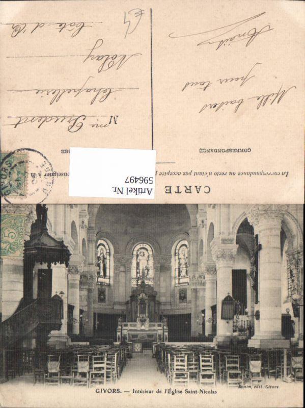 596497,Givors Interieur de l Eglise Saint-Nicolas Kirche Innen France