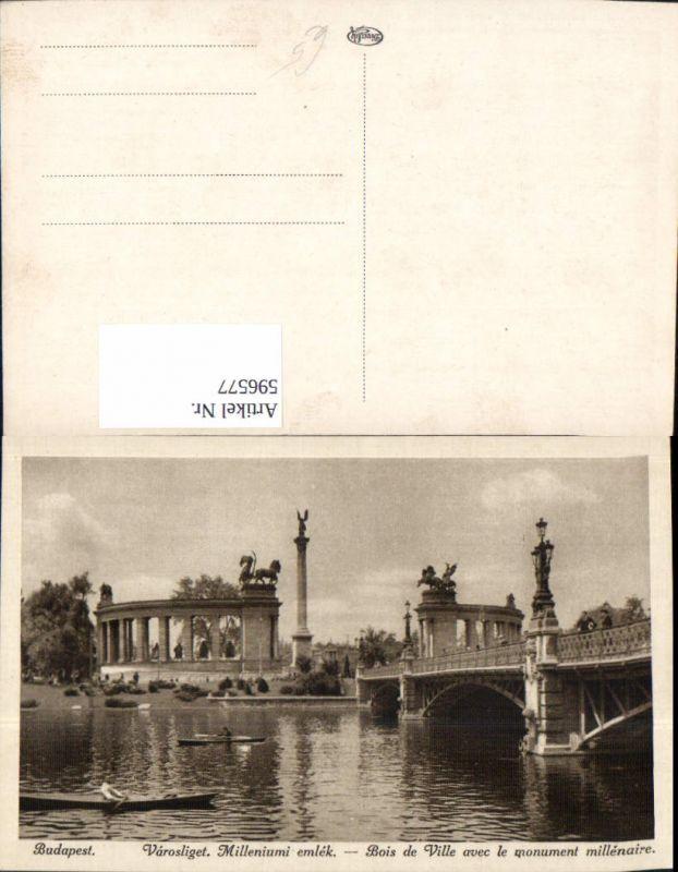 596577,Budapest Varosliget Milleniumi emlek Brücke Ruderboote Hungary 0
