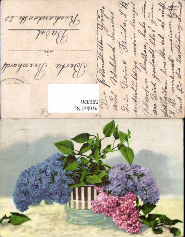 596828,Vase m. Flieger Blau Rosa Blumen