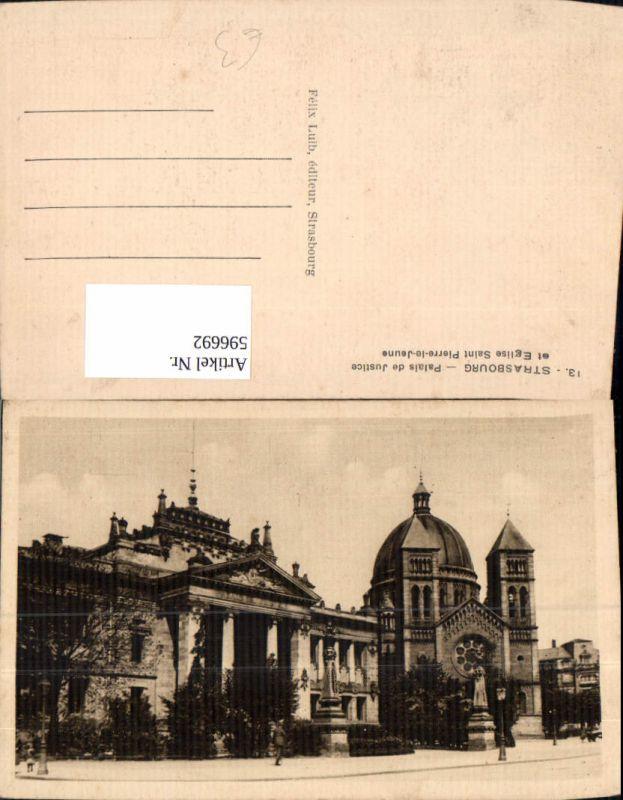 596692,Strasbourg Straßburg Palais de Justice et Eglise Saint Pierre-le-Jeune France