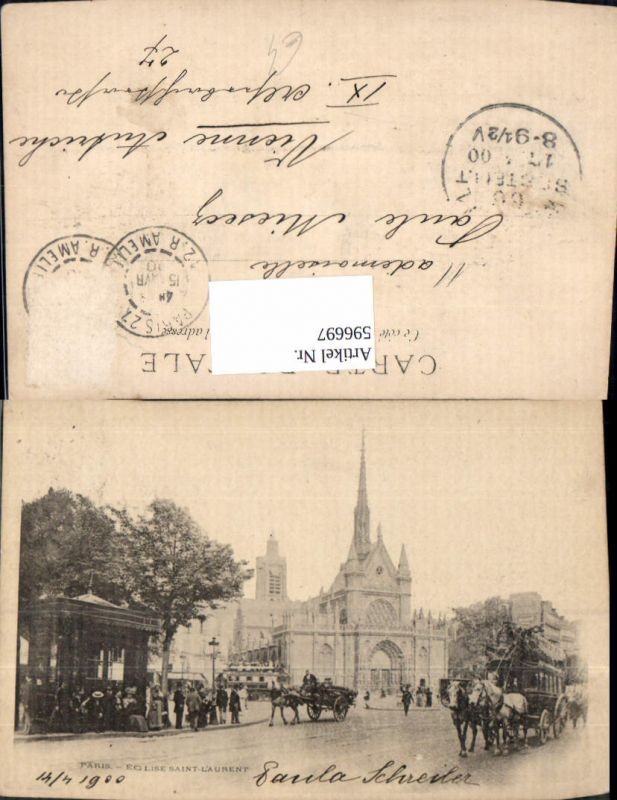596697,Paris Eglise Saint-Laurent Kirche Kutsche Tram Tramway France