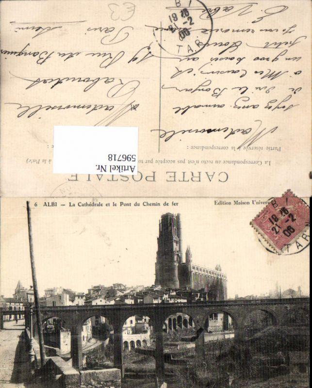 596718,Albi La Cathedrale et le Pont du Chemin de fer Brücke Viadukt Kathedrale France