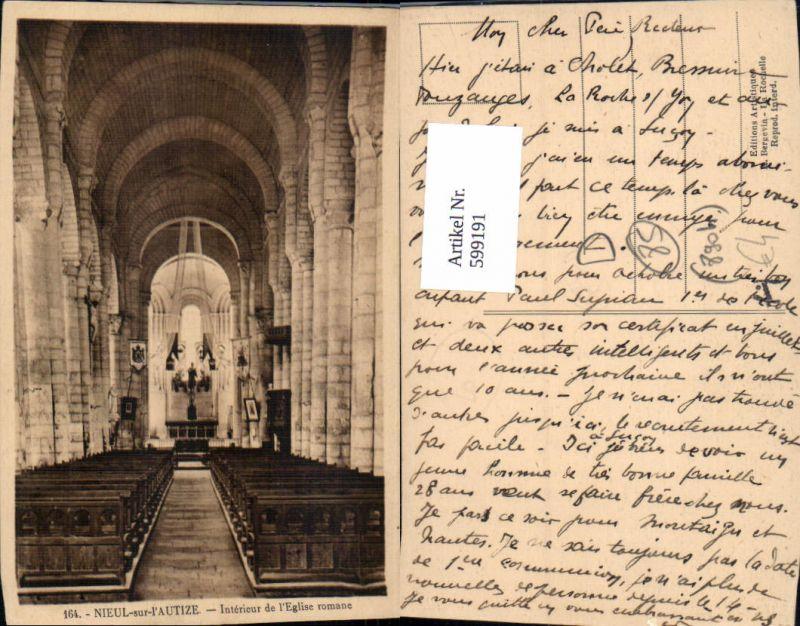 599191,Nieul-sur-l Autize Interieur de l Eglise romane Kirche Innen France