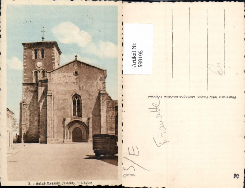 599195,Saint-Mesmin Vendee L Eglise Kirche France