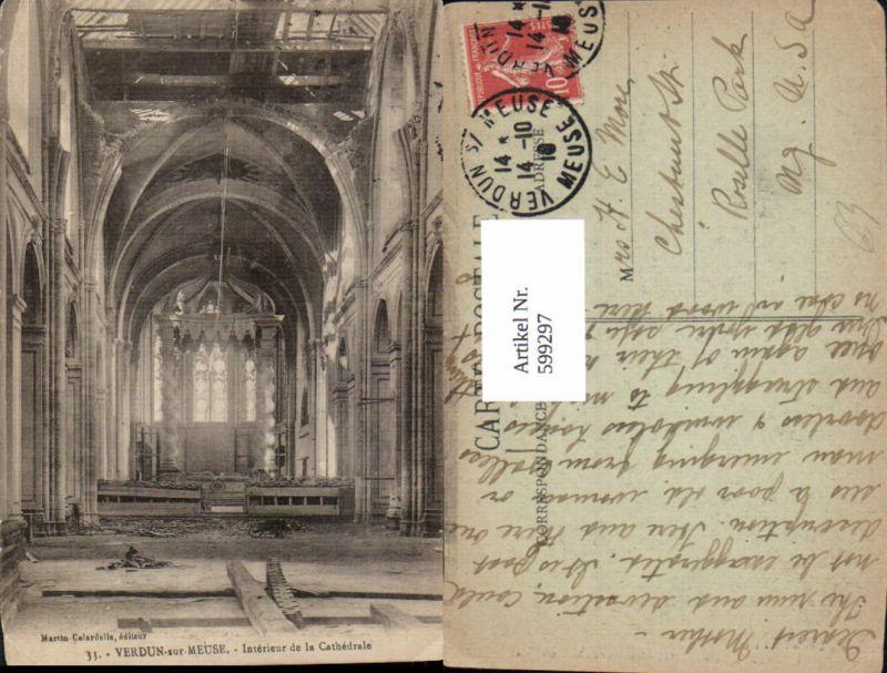 599297,Verdun-sur-Meuse Interieur de la Cathedrale Kathedrale zerstört France