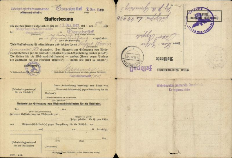 599326,Feldpost Osnabrück Eignungsprüfung Marine Wehrbezirkskommando Kriegsmarine 1943