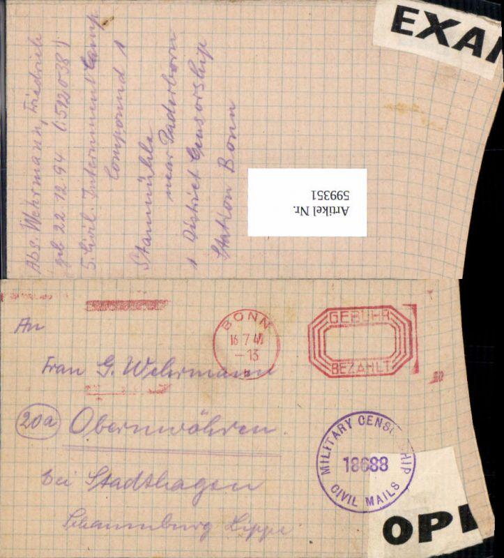 599351,Kriegsgefangenenpost POW Bonn 5. Civilian Internment Camp Obernwöhren Stadthagen Hannover