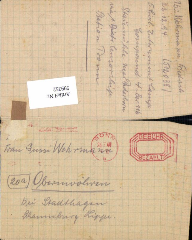 599352,Kriegsgefangenenpost POW Bonn 5. Civilian Internment Camp Obernwöhren Stadthagen Hannover