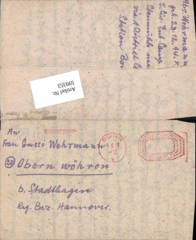 599353,Kriegsgefangenenpost POW Bonn 5. Civilian Internment Camp Obernwöhren Stadthagen Hannover