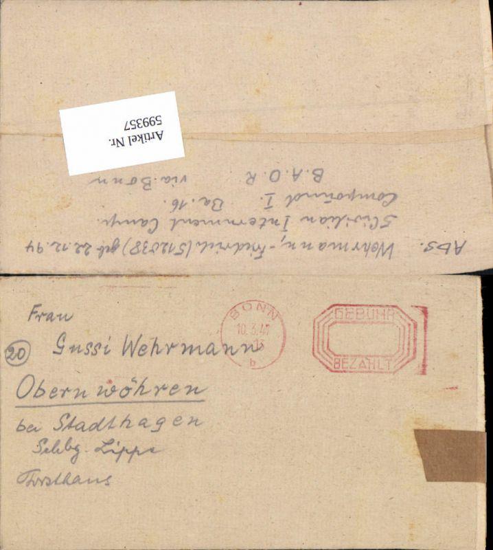599357,Kriegsgefangenenpost POW Bonn 5. Civilian Internment Camp Obernwöhren Stadthagen Hannover