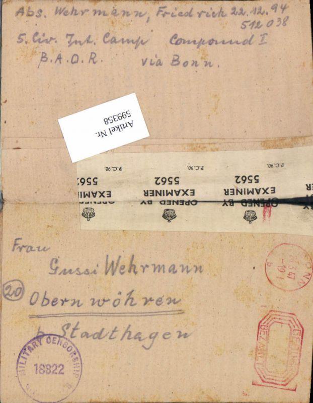 599358,Kriegsgefangenenpost POW Bonn 5. Civilian Internment Camp Obernwöhren Stadthagen Hannover