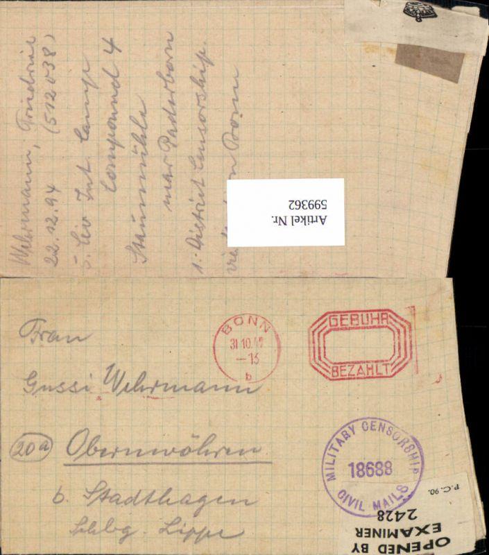 599362,Kriegsgefangenenpost POW Bonn 5. Civilian Internment Camp Obernwöhren Stadthagen Hannover