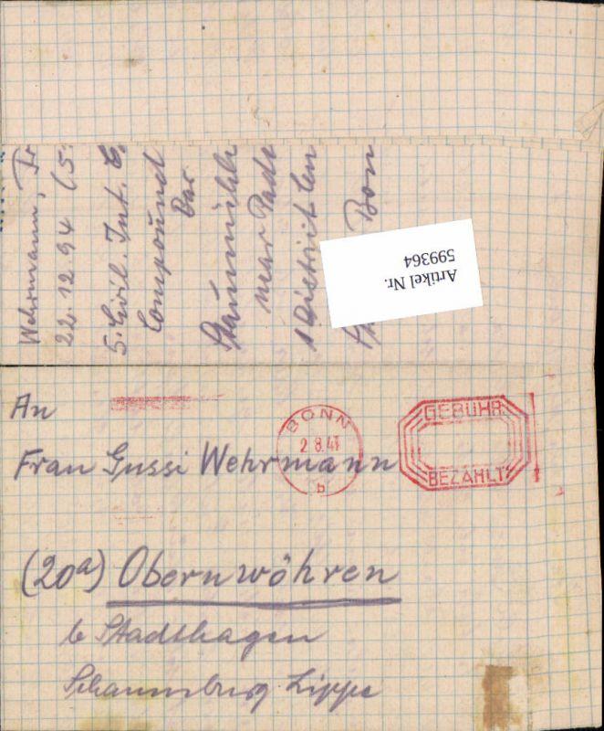 599364,Kriegsgefangenenpost POW Bonn 5. Civilian Internment Camp Obernwöhren Stadthagen Hannover