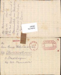 599367,Kriegsgefangenenpost POW Bonn 5. Civilian Internment Camp Obernwöhren Stadthagen Hannover
