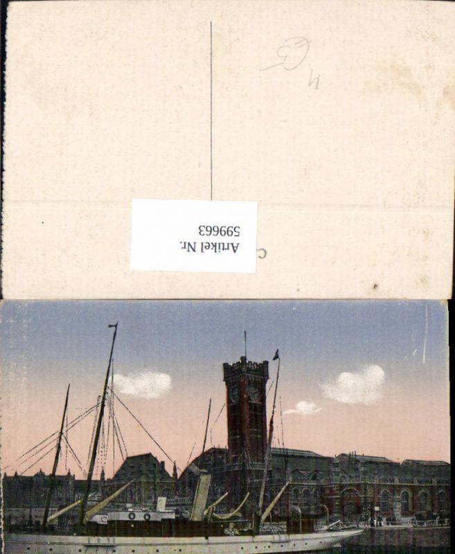 599663,Schiff Binnenschiff Dampfer Ostende La Gare Bahnhof