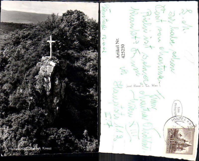 425250,Foto Ak Gipfelkreuz Hinterbrühl Weißes Kreuz Bildstock Flurkreuz Religion