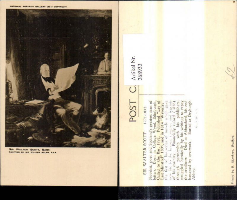 268933,Künstler Ak Sir William Allan Mann Sir Walter Scott liest Zeitung Lesen