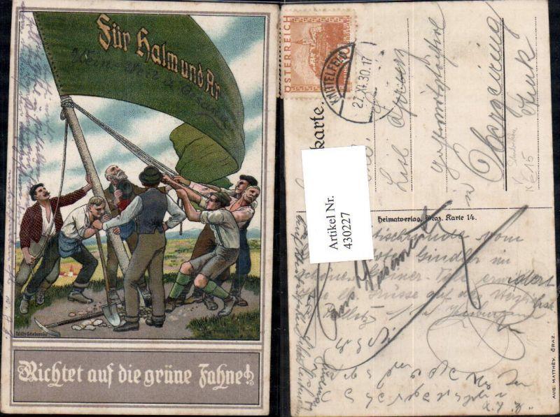 430227,Künstler Ak Willy Stieborsky Richtet auf d. grüne Fahne Studentika pub Aug. Matthey Graz 0