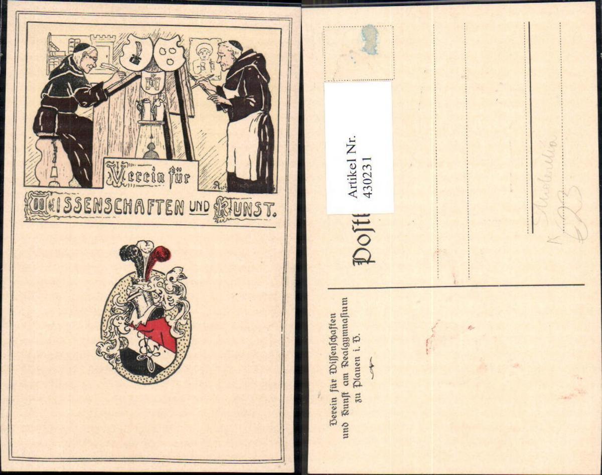 430231,Künstler Ak Studentika Plauen Verein für Wissenschaft u. Kunst Wappen